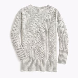 Oversized patchwork cable-knit tunic sweater